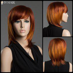 Straight Side Bang Siv Hair Capless Multi-Colored Medium Human Hair Wig