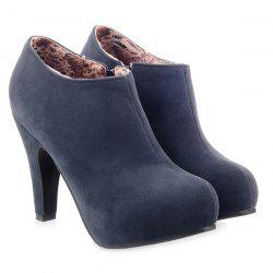 Zipper Cone Heel Suede Ankle Boots - PURPLISH BLUE