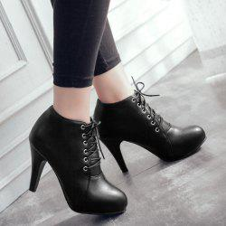 Platform Tie Up PU Leather Ankle Boots - BLACK 40