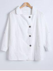 Single-Buttoned Linen Pure Color Blazer -
