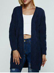 Collarless Loose-Fitting Textured Cardigan