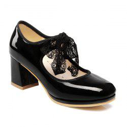 Tie Up Patent Leather Pumps