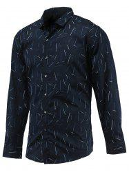 Linellae Print Turn-Down Collar Long Sleeve Button-Down Shirt -