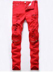Cinq-Pocket Rivet embellies Zip Ripped genou Jeans - Rouge