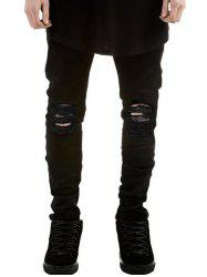 Zipper Fly Frayed Skinny Ripped Jeans - BLACK