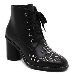 Stitch Rivet Chunky Heel Lace Up Ankle Boots - BLACK 40