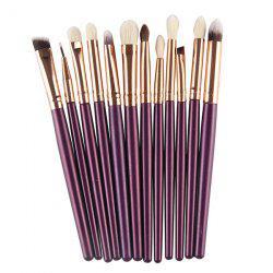 12 Maquillage Pcs Goat Hair Eye Brush Set - Pourpre