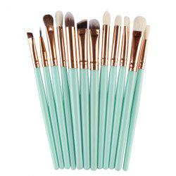 12 Pcs Goat Hair Eye Makeup Brush Set - GREEN