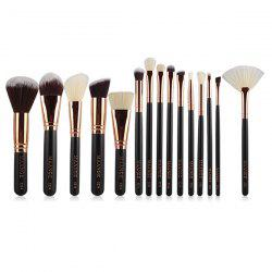 15 Pcs Nylon visage yeux Maquillage Brush Set - Noir