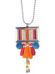 Velvet Ball Tassel Beaded Sweater Chain - COLORMIX