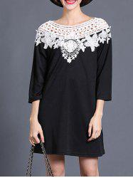 Openwork 3/4 Sleeves Crochet Spliced Dress -