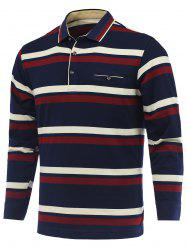 Striped Long Sleeve Polo Shirt - RED 3XL