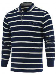 Striped Turn-Down Collar Long Sleeve Polo T-Shirt - CADETBLUE