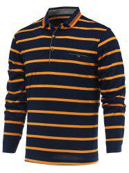 Striped Turn-Down Collar Long Sleeve Polo T-Shirt