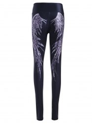Wing Pattern High Waist Skinny Pants - BLACK ONE SIZE