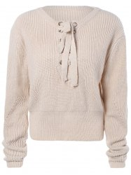 Criss-Cross court Sweater - Blanc Cassé