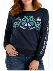Geometrical Print Long Sleeves Sweatshirt - PURPLISH BLUE