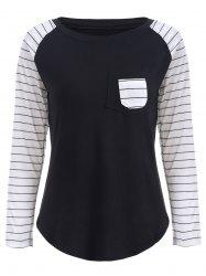 Preppy Color Block Stripe Scoop Neck Sweatshirt