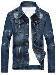 Scratched Ripped Turn-down Collar Long Sleeve Denim Jacket