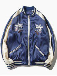 Varsity-Striped Embroidered Zip Up Long Sleeve Jacket