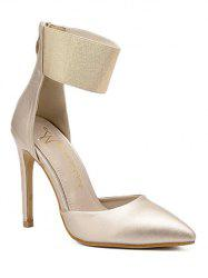 Stiletto Heel Elastic Band Pumps - GOLDEN