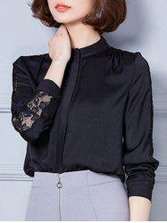 Stand Collar Lace Spliced Hollow Out Blouse -