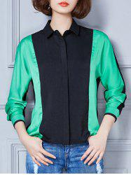 Contrast Color Spliced Loose-Fitting Shirt -