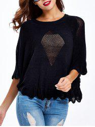 Butterfly Sleeves Ruffled Openwork Sweater -