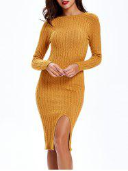 Cable Knit Long Sleeve Bodycon Sweater Dress - EARTHY