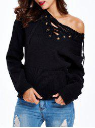 Tied-Up Criss-Cross Loose Fitting Sweater -
