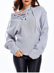 Tied-Up Criss-Cross Loose Fitting Sweater