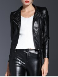 Faux Leather Zips Jacket
