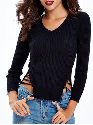 Criss-Cross Side-Slit Slimming Knitwear