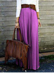 High Waisted Purple Long Skirt -