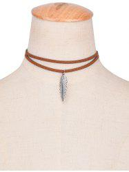 Faux Leather Alloy Feather Choker Necklace