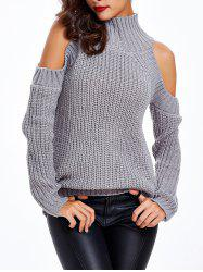 Textured Cold Shoulder Sweater - GRAY ONE SIZE