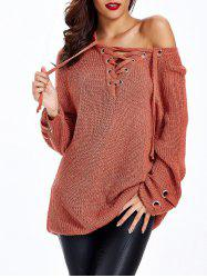 Lace Up Criss-Cross Long Sweater -