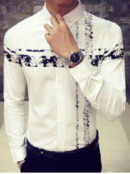 Turn-Down Collar Flower Print Spliced Long Sleeve Button-Down Shirt