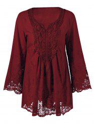 Lace Patchwork Peasant Top - WINE RED XL