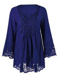 Lace Patchwork Peasant Top - DEEP BLUE XL