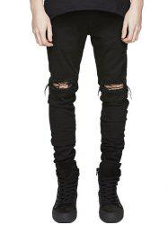 Knee Holes Frayed Zipper Fly Narrow Feet Ripped Jeans - BLACK