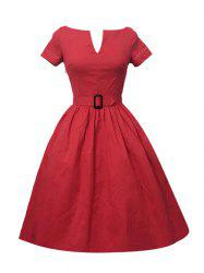 Plus Size Pleated A Line Vintage Dress
