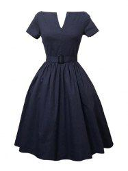 Plus Size Pleated A Line Vintage Cotton Dress - PURPLISH BLUE