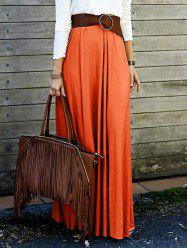 High Waisted Solid Color Long Skirt - ORANGE