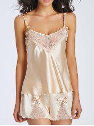 Lace Panel Cami Satin Two Piece Pajamas -