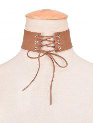 Faux Leather Velvet Bowknot Choker -