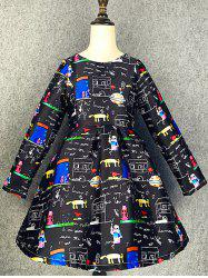 Long Sleeve Cartoon Scrawl A Line Dress -