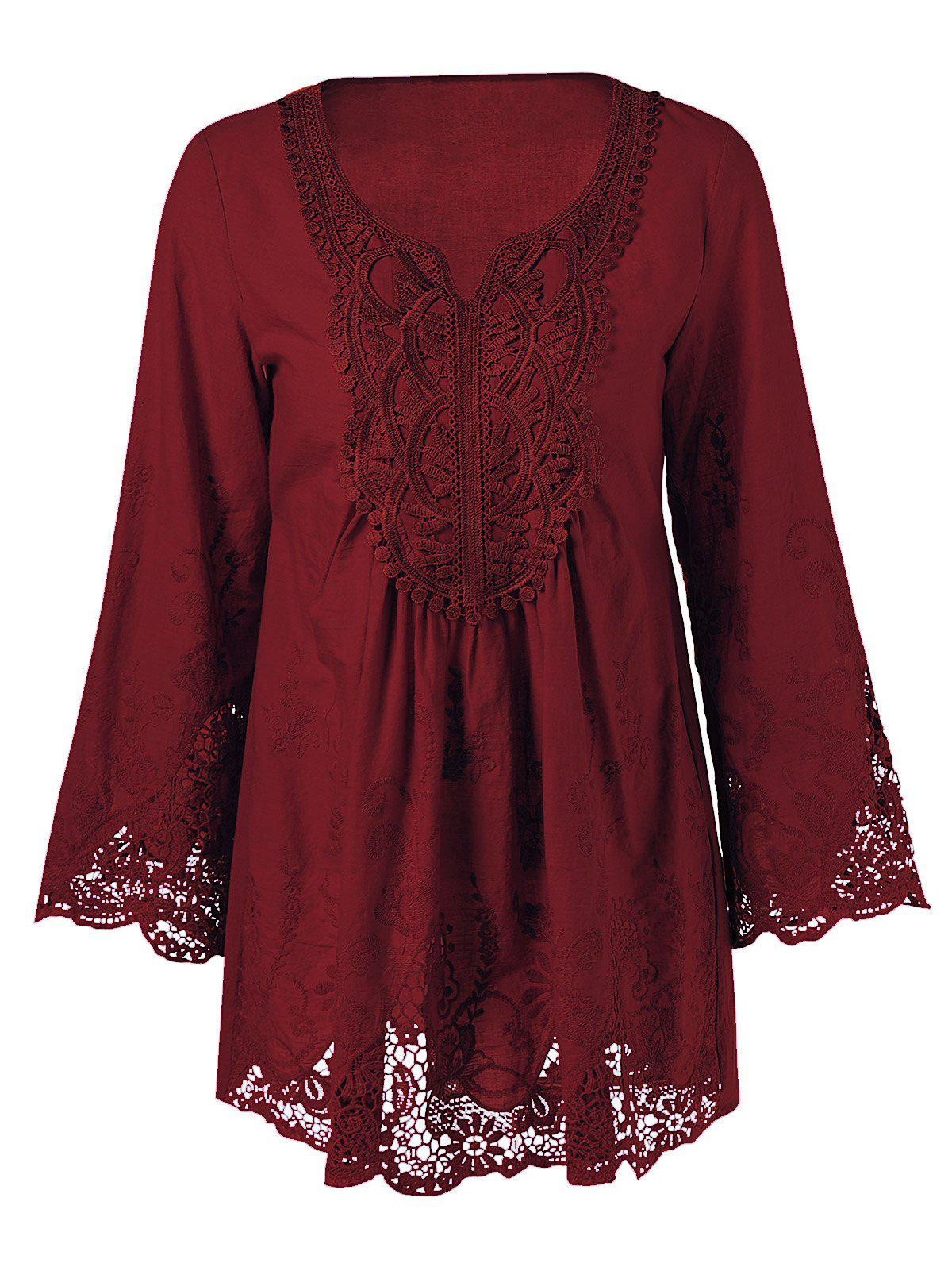 Lace Patchwork Peasant TopWOMEN<br><br>Size: 2XL; Color: WINE RED; Style: Casual; Material: Cotton Blends,Polyester; Shirt Length: Long; Sleeve Length: Full; Collar: Scoop Neck; Pattern Type: Floral; Season: Fall,Spring,Summer; Weight: 0.1930kg; Package Contents: 1 x Blouse;