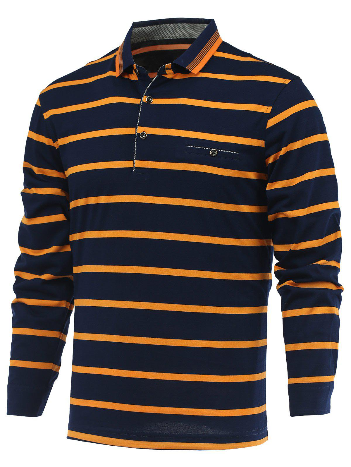 Latest Striped Turn-Down Collar Long Sleeves T-Shirt
