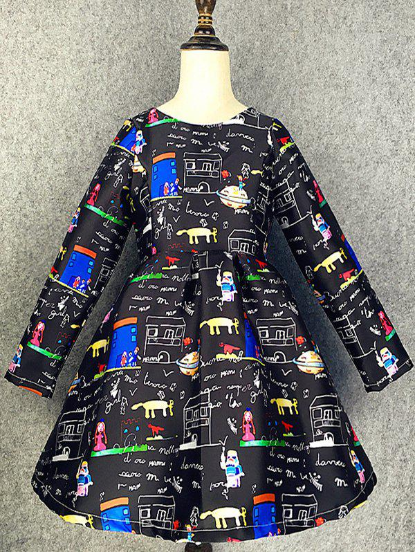 Hot Long Sleeve Cartoon Scrawl A Line Dress